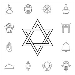 David star icon. Set of religion icons. Web Icons Premium quality graphic design. Signs, outline symbols collection, simple icons for websites, web design, mobile app