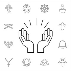 Praying hands icon. Set of religion icons. Web Icons Premium quality graphic design. Signs, outline symbols collection, simple icons for websites, web design, mobile app
