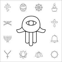 Hamsa hand icon. Set of religion icons. Web Icons Premium quality graphic design. Signs, outline symbols collection, simple icons for websites, web design, mobile app