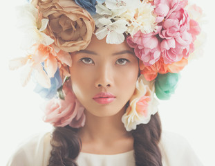 Beautiful Asian Woman With a Flower Wreath