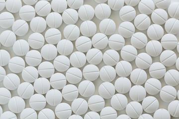 White prescription medicine on white background