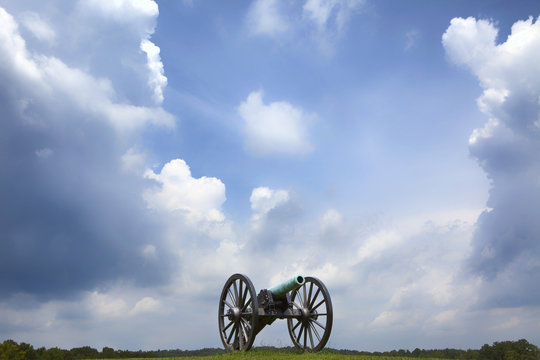 Civil War  cannon with storm clouds in Chickamauga National Military Park