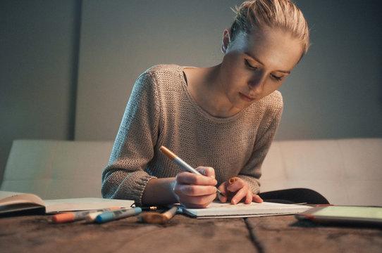 Art student doing homework