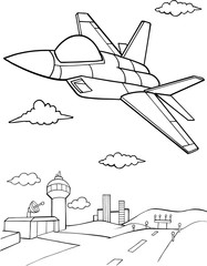 Photo sur cadre textile Cartoon draw Jet Aircraft Vector illustration Art