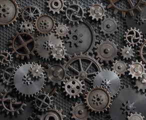Metal cogwheel and gears background 3d illustration
