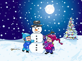 A young boy and girl making a snowman on a cold winter night with a dark blue sky, a shinning moon and a Christmas tree with colorful lights.