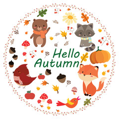 hello autumn card.cute animal set