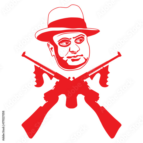Mafia Boss With Two Crossed Submachine Guns Symbol Of Violence And