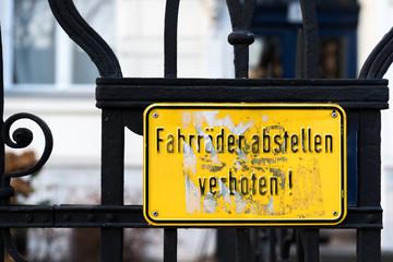 Fahrrad abstellen nicht erlaubt