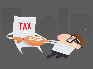 The cartoon businessman is pulling his money return from tax organization, Tax return, Vector illustration