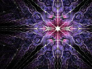 Abstract fractal cross with star, digital artwork for creative graphic design