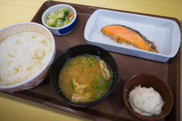 The  Japanese food Grilled salmon set meal image .