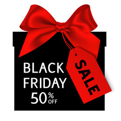 Black friday gift with sale tag. Vector black gift box with red bow and red label with sale text