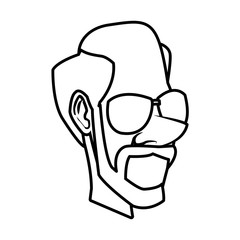 Adult man face cartoon icon vector illustration graphic design