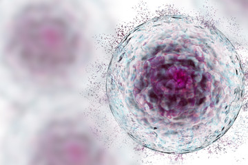 Stem Cell with protein cluster, deconstructing stem cell, dying cells, data analysis 3D render