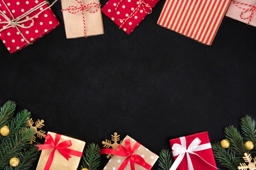 Gift boxes and Christmas ornaments, border design, on blackboard