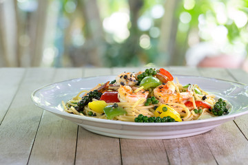 Spaghetti Prawns Stir Black pepper sauce Delicious Thai food