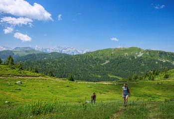 Beautiful couple traveling in Prokletije mountains