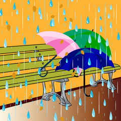 Autumn illustration, on a bench there are three umbrellas, and it's raining,