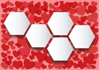 many red hearts infographics hexagon template background vector illustration