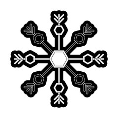 flat line monochromatic snowflake over white background vector illustration