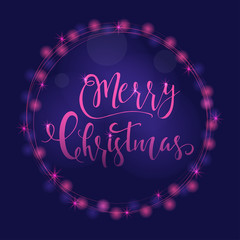 Wonderful and unique festive purple luminous background with Christmas wishes for holiday greeting cards. Hand drawn lettering with blurred bokeh.
