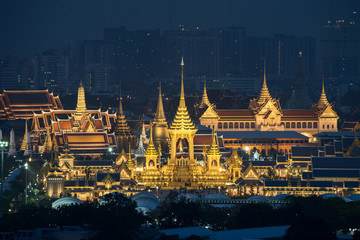 Top view scene of royal crematorium. The royal pyre for royal funeral of H.M. King Bhumibol Adulyadej at twilight time in Bangkok, Thailand.