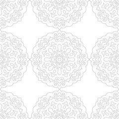 Black and white silhouette of snowflakes, seamless pattern for coloring book. Lace, round ornament.