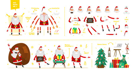 Santa Claus character  set for animation and motion design