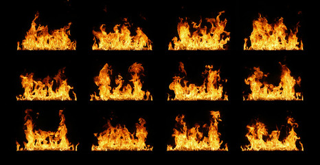Fire flames collection isolated on black Wall mural