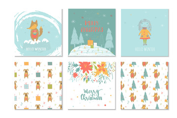 Set of 6 cute Christmas gift cards with lettering Merry Christmas and patterns.