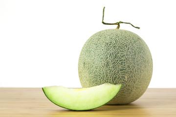 Cantaloupe melon, fruit on white background .