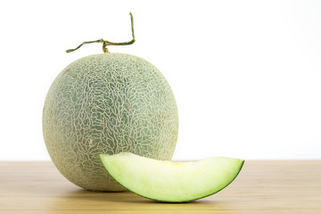 Cantaloupe melon, fruit on white background .