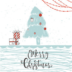 Cute Christmas gift card with quote Merry Christmas