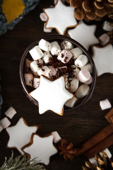 A cup of hot chocolate with gingerbread. The taste of winter. Dark background.