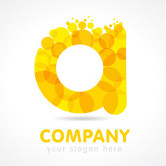A letter logotype. A company template. Stained glass colored luxurious emblem with gold drops and bubbles bunch. Branding entertaining idea. Vector yellow graphic isolated illustration.