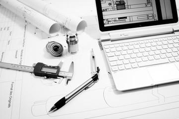 Maschinenbau - Konstruktion, technische Utensilien