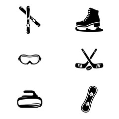 Set of simple icons on a theme sport, vector, design, collection, flat, sign, symbol,element, object, illustration, isolated. White background