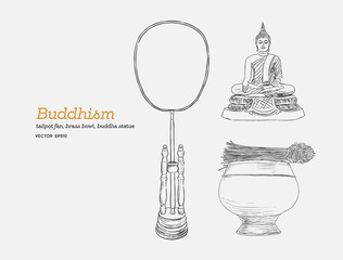 Set of buddhism, hand draw sketch vector.