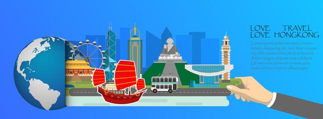 Hongkong  infographic , global  with landmarks of Hongkong ,flat style.Love travel love Hongkong.