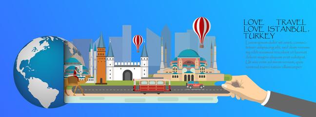 Turkey infographic , global  with landmarks of Istanbul ,flat style.Love travel loveTurkey.