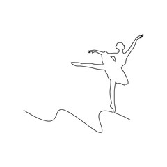 ballerina dancing vector illustration curved line, isolated on white background with copyspace