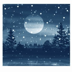 Winter watercolor landscape with moon and snow