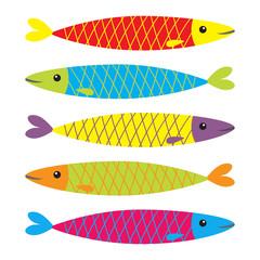 Sardine colorful fish icon set. Iwashi. Sardina pilchardus. Cute cartoon character. Anchovy pilchard. Water animal. Marine life. Flat design. White background. Isolated.