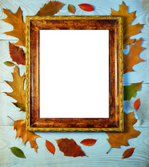 Frame for a picture on the background of a tree and autumn leaves. Autumn mockup with an old frame.