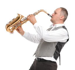 Man playing saxophone on white isolated background