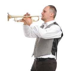Man playing trumpet on white isolated background
