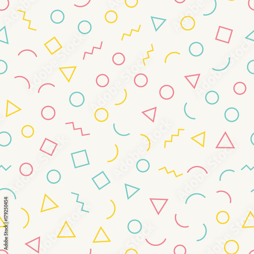 Seamless memphis pattern with light background with