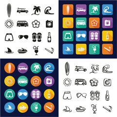 Surfing All in One Icons Black & White Color Flat Design Freehand Set