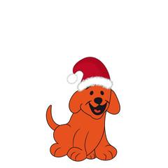 Cheerful puppy in a Santa Claus hat